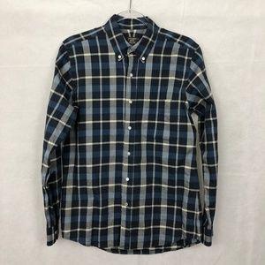 J.McLaughlin Blue Plaid Button Down Shirt S